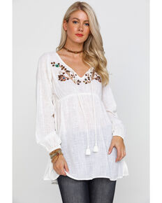 bce91ecb31 Shyanne Women s Ivory Sequin   Beaded Peasant Top