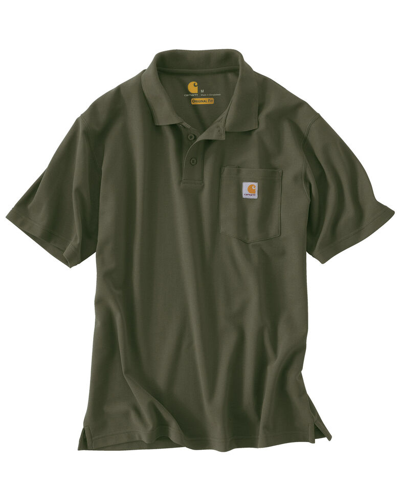 Carhartt Men's Contractors Pocket Short Sleeve Work Polo Shirt, Moss, hi-res