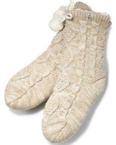 UGG Women's Pom Pom Crew Socks , White, hi-res