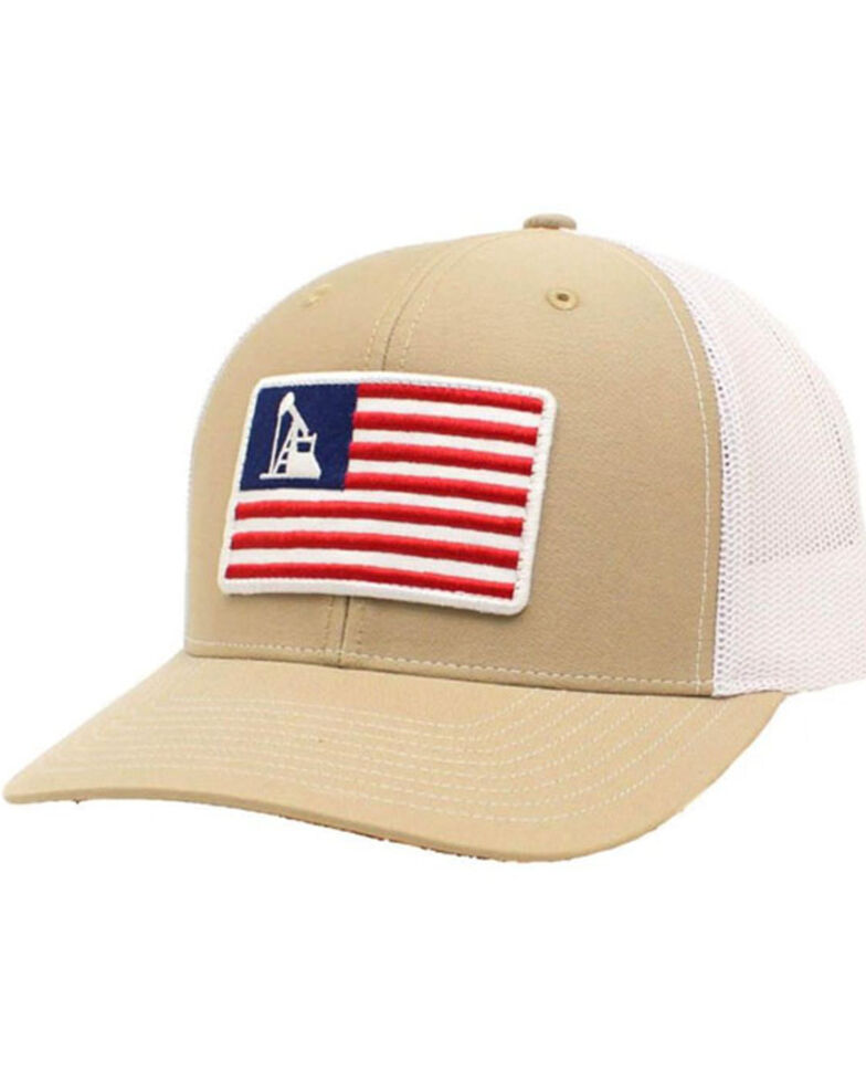 Ariat Men's Tan Oil Rig Flag Patch Mesh-Back Ball Cap , Tan, hi-res