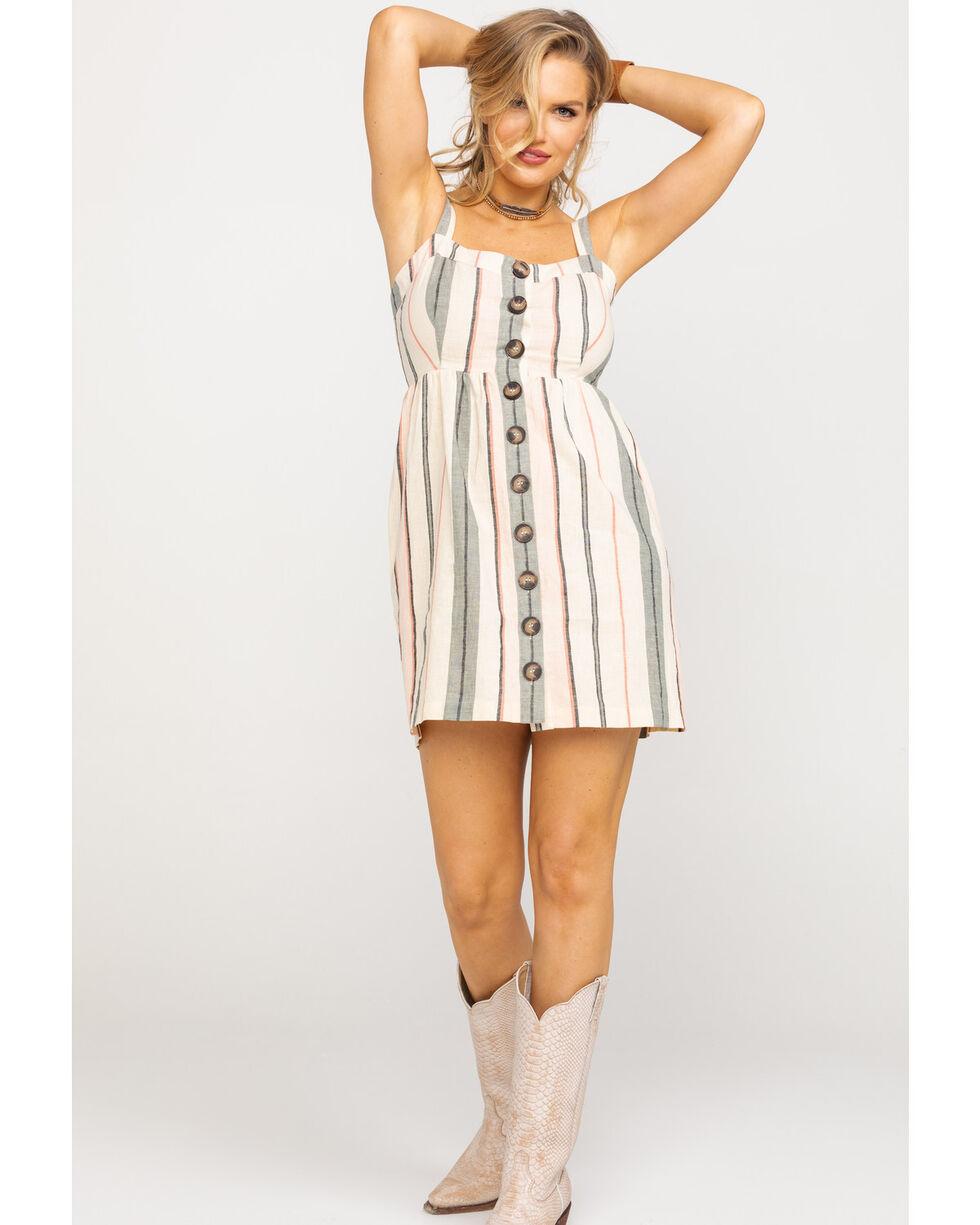 Shyanne Women's Blush Stripe Button Down Dress , Blush, hi-res