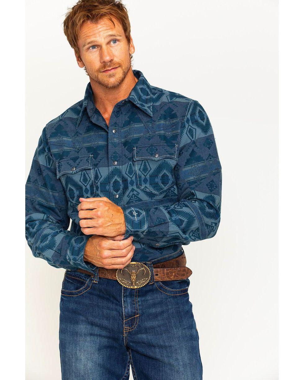 Ryan Michael Men's Blanket Jacquard Shirt , Dark Blue, hi-res