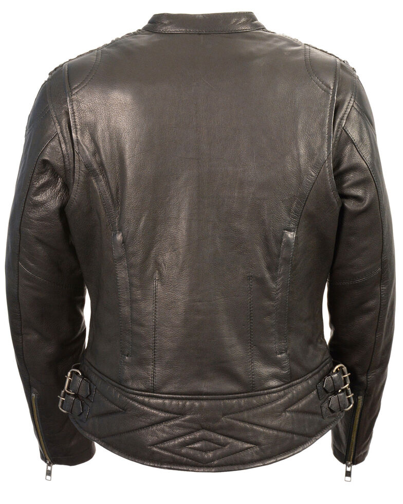 Milwaukee Leather Women's Crinkle Arm Lightweight Racer Leather Jacket, Black, hi-res