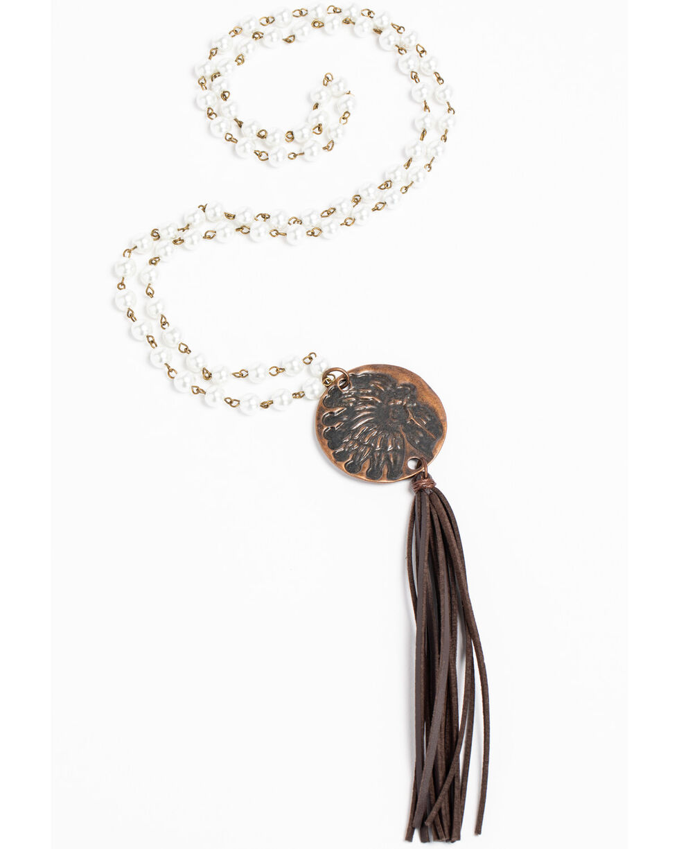 Jewelry Junkie Women's Indian Head Copper Faceted Beaded Necklace, Rust Copper, hi-res