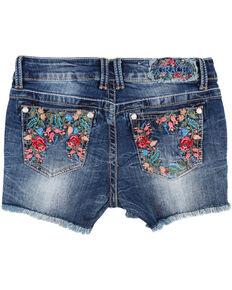 Grace In LA Girls'  Floral Embroidered Frayed Shorts, Blue, hi-res