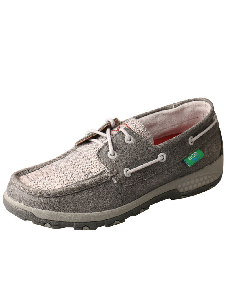 Twisted X Women's Silver CellStretch Boat Shoes - Moc Toe, Silver, hi-res