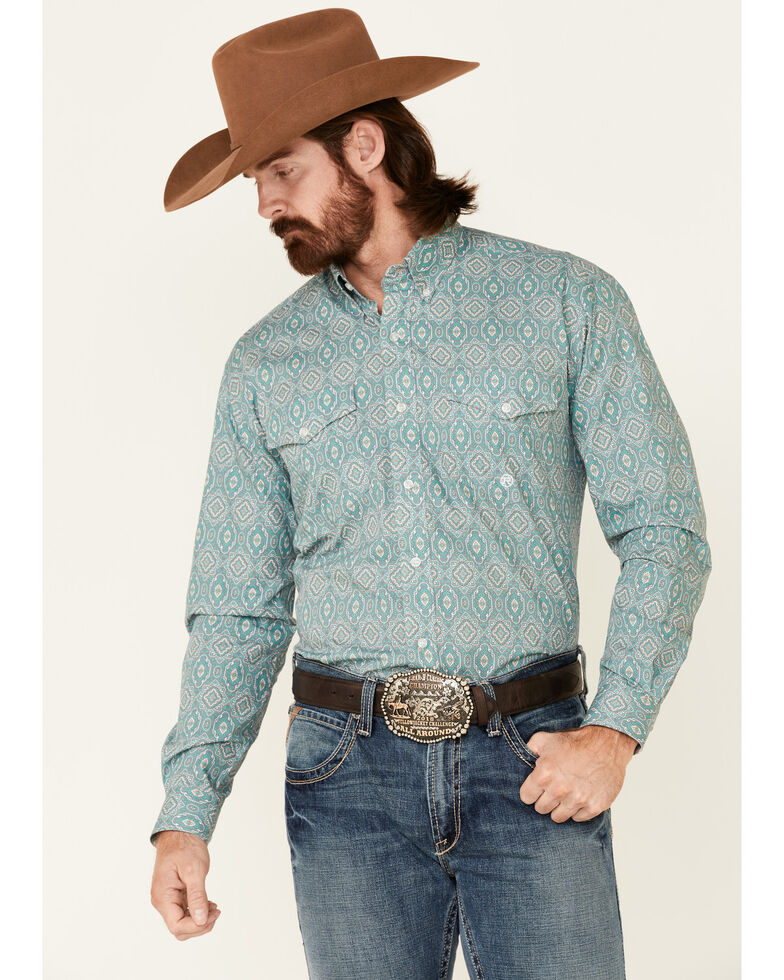 Roper Men's Jade Quarry Medallion Paisley Print Long Sleeve Button-Down Western Shirt , Green, hi-res