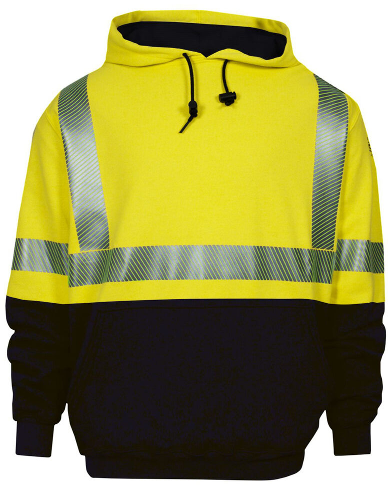 National Safety Apparel Men's 2X-3X FR Vizable Hi-Vis Hybrid Lined Hooded Work Sweatshirt - Tall, Bright Yellow, hi-res