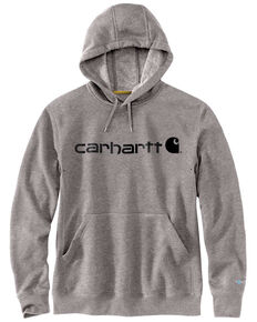 Carhartt Men's Grey Force Delmont Signature Graphic Hooded Work Sweatshirt , Heather Grey, hi-res