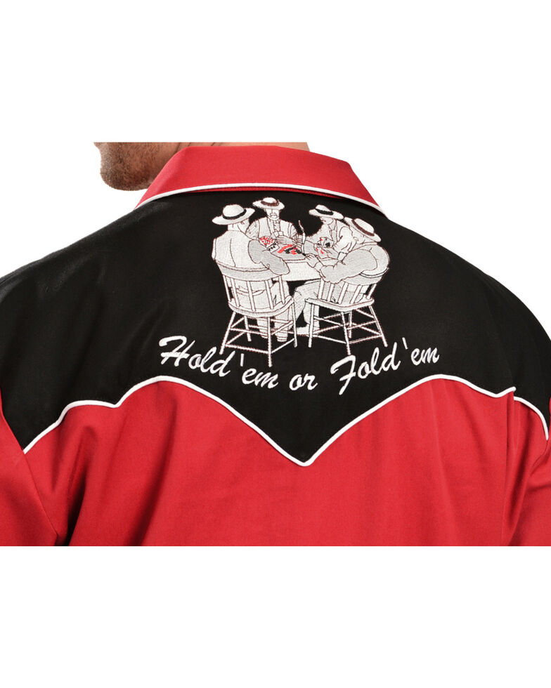 Scully Poker Cards Embroidered Retro Western Shirt - Big, Red, hi-res