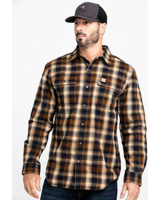 Carhartt Men's Navy Hubbard Flannel Long Sleeve Work Shirt, Navy, hi-res