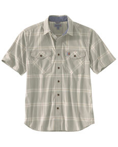 Carhartt Men's Khaki Rugged Flex Bozeman Plaid Short Sleeve Work Shirt - Big , Beige/khaki, hi-res