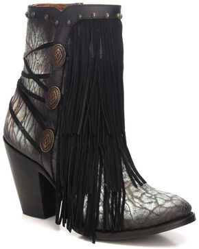 Corral Women's Black/Turquoise Fringe & Studded Booties - Round Toe, Black, hi-res