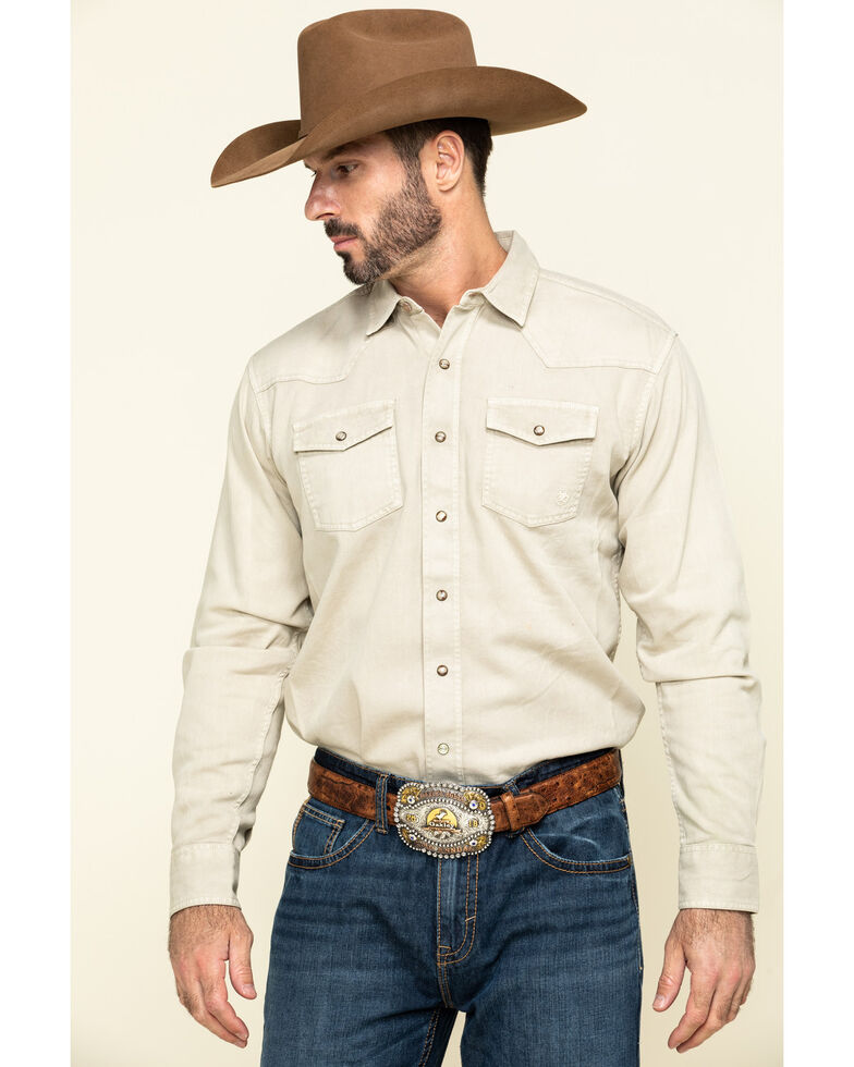 Ariat Men's Beige Jurlington Retro Solid Long Sleeve Western Shirt , Beige/khaki, hi-res