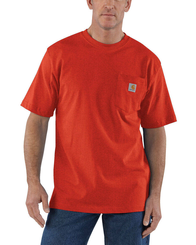 Carhartt Men's Solid Short Sleeve Pocket Work T-Shirt - Big & Tall, Dark Orange, hi-res