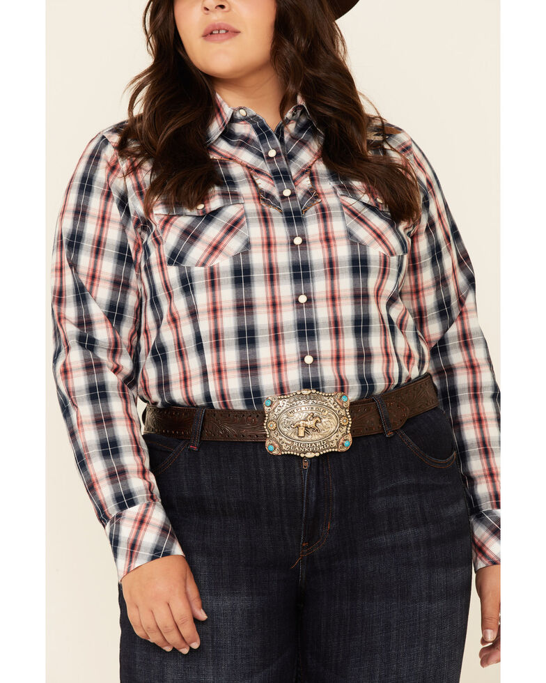 Ariat Women's R.E.A.L Dynamic Plaid Embroidered Long Sleeve Western Core Shirt - Plus, Navy, hi-res