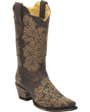 Corral Women's Floral Embroidered Snip Toe Western Boots, Brown, hi-res