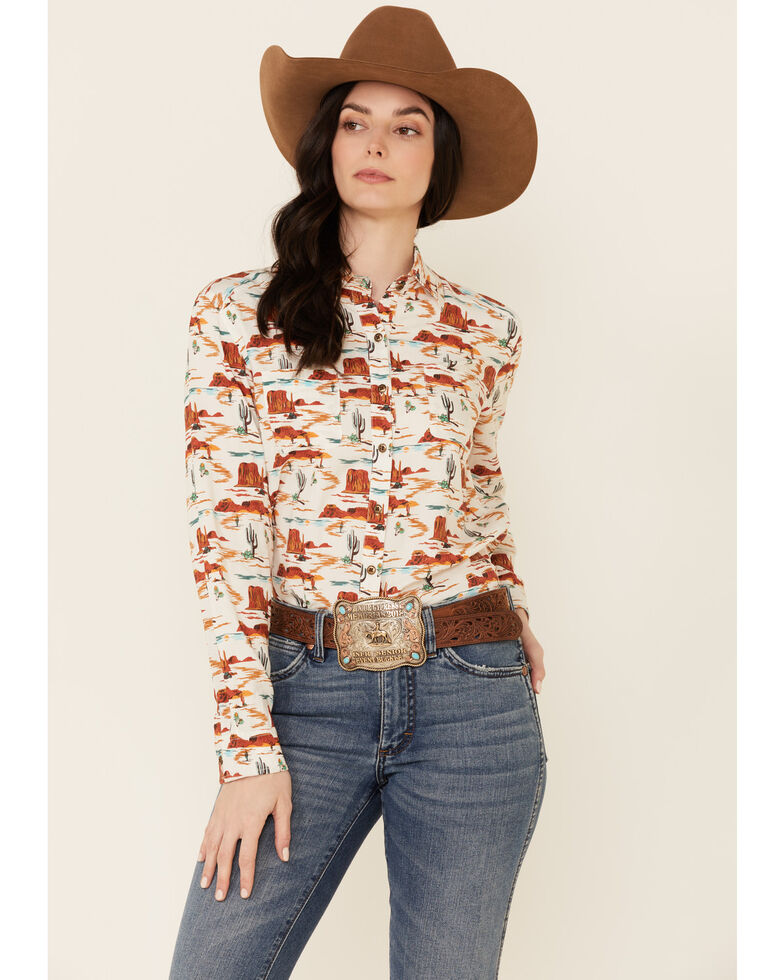 Rock & Roll Denim Women's Tan Desert Print Long Sleeve Snap Western Core Shirt , Tan, hi-res