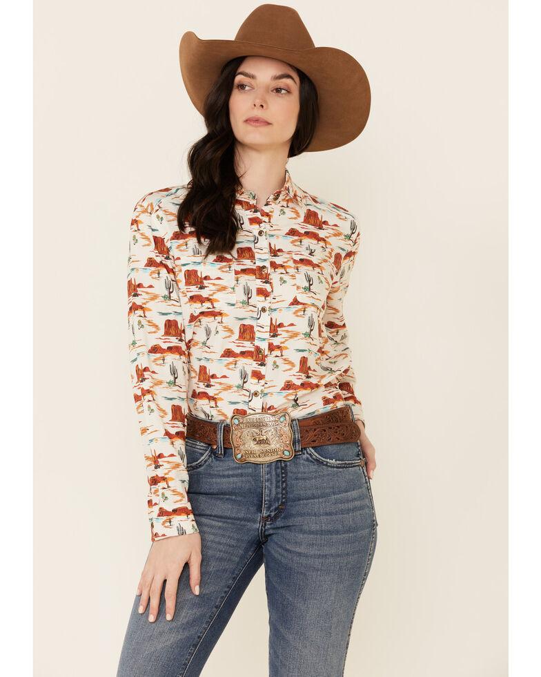Rock & Roll Denim Women's Tan Desert Print Long Sleeve Snap Western Core Shirt , Tan, hi-res