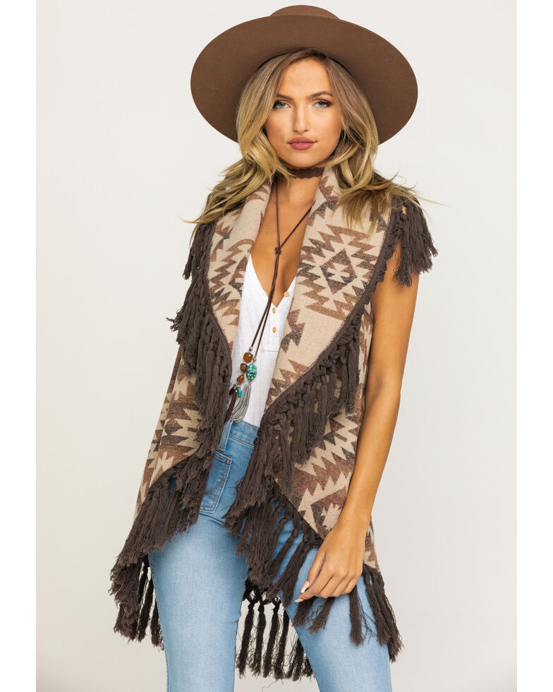 Cripple Creek Women's Brown Open Front Navajo Blanket Fringe Vest, Brown, hi-res