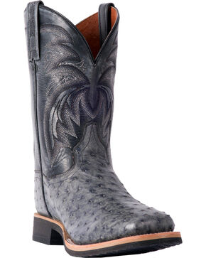 Dan Post Men's Philsgood Grey Full Quill Ostrich Boots- Square Toe, Grey, hi-res