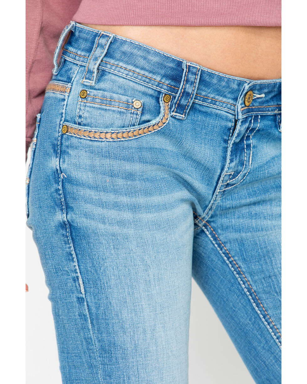 Rock & Roll Cowgirl Women's Feather Stitched Light Low Rise Boot Jeans , Light Blue, hi-res