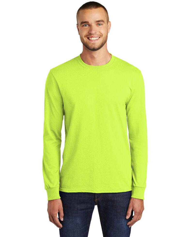 Port & Company Men's Safety Green Core Blend Long Sleeve Work T-Shirt - Big , Green, hi-res
