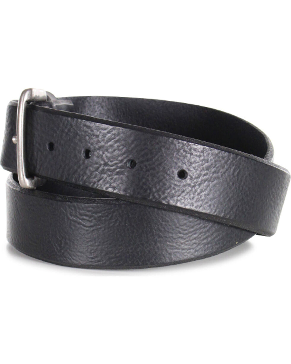 American Worker® Men's Distressed Leather Belt, Black, hi-res