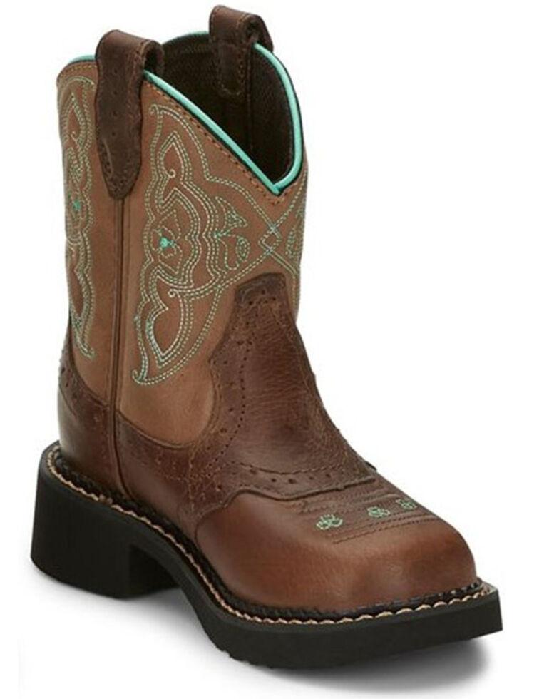 Justin Girls' Nuri Western Boots - Round Toe, Brown, hi-res