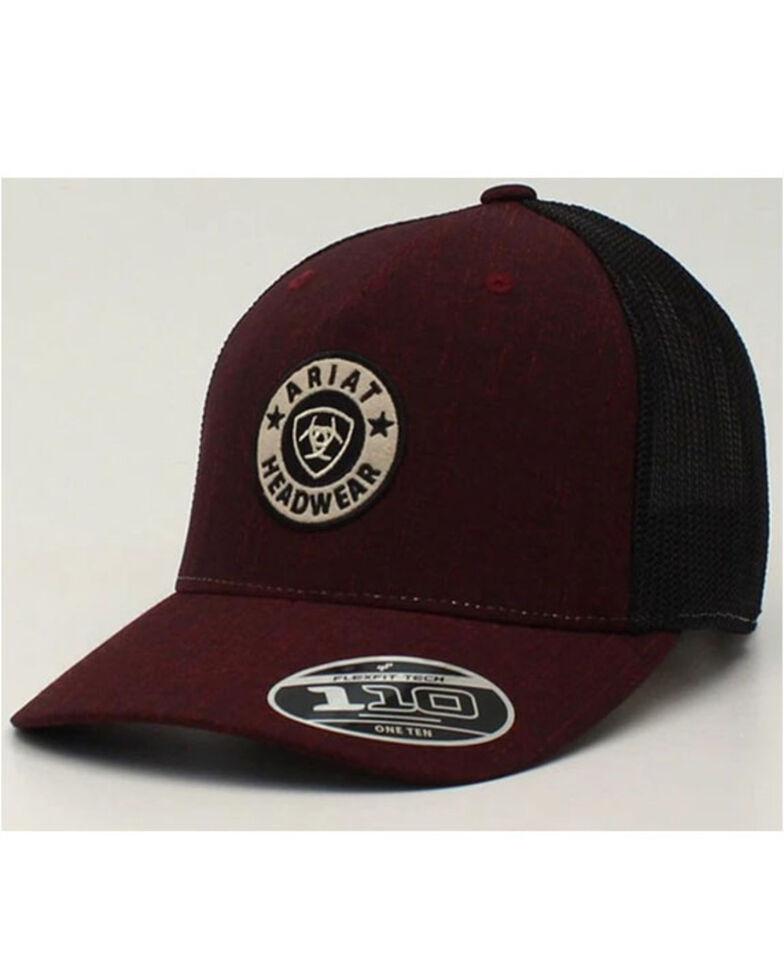 Ariat Men's Burgundy & Black Round Logo Flex Fit Mesh-Back Ball Cap , Burgundy, hi-res