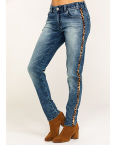 Rock & Roll Cowgirl Women's Boyfriend Skinny Leopard Trim Jeans, Blue, hi-res