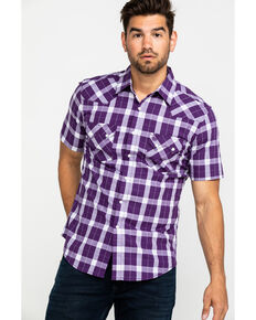 Wrangler Retro Men's Purple Med Plaid Short Sleeve Western Shirt , Purple, hi-res