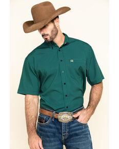 Cinch Men's Arena Flex Navy Small Plaid Button Short Sleeve Western Shirt , Navy, hi-res