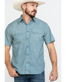 Moonshine Spirit Men's Pale Ale Geo Print Short Sleeve Western Shirt , Teal, hi-res