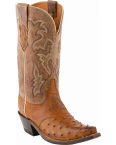 Lucchese Women's Augusta Exotic Ostrich Western Boots, Tan Burnish, hi-res