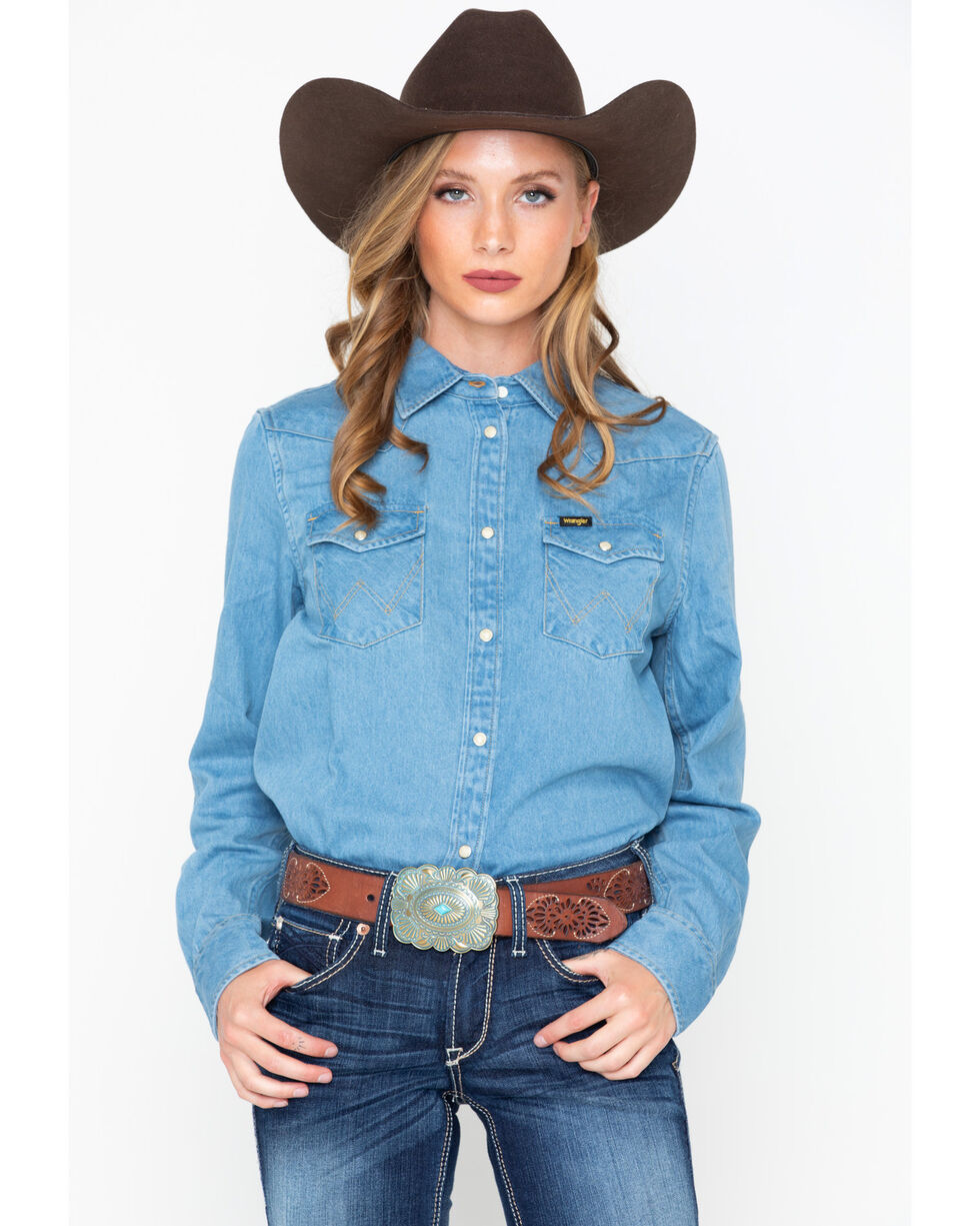 Wrangler Women's Modern Born Ready Oversized Western Denim Shirt, Light Blue, hi-res