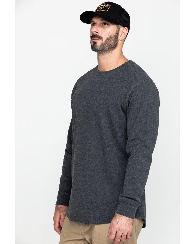 Hawx® Men's Grey Solid Asphalt Thermal Crew Long Sleeve Work Shirt , Charcoal, hi-res