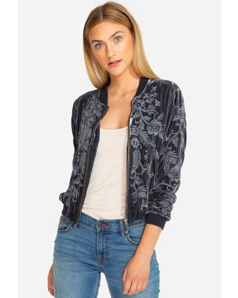 Johnny Was Women's Kamala Embroidered Bomber Jacket, Black, hi-res