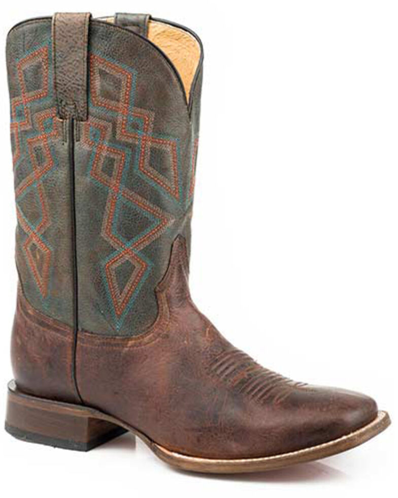 Roper Men's Loaded Western Boots - Square Toe, Brown, hi-res