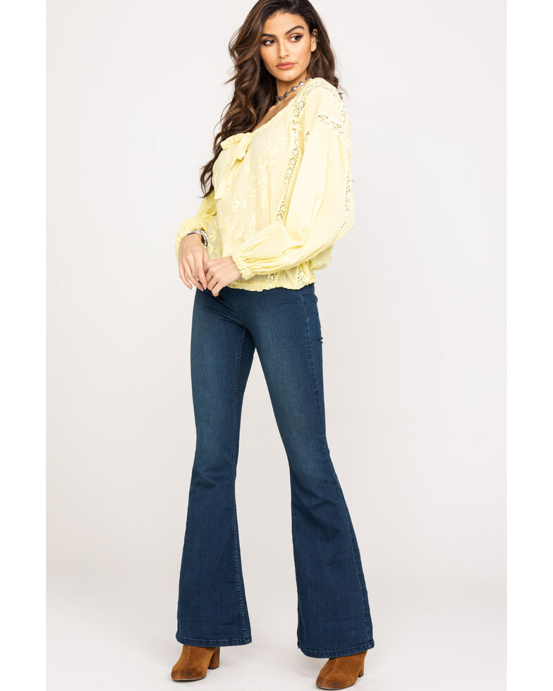 Free People Women's Maria Maria Lace Blouse, Yellow, hi-res