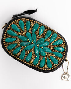 Mary Frances Women's Morocco Embellished Leather Crossbody Bag, Turquoise, hi-res