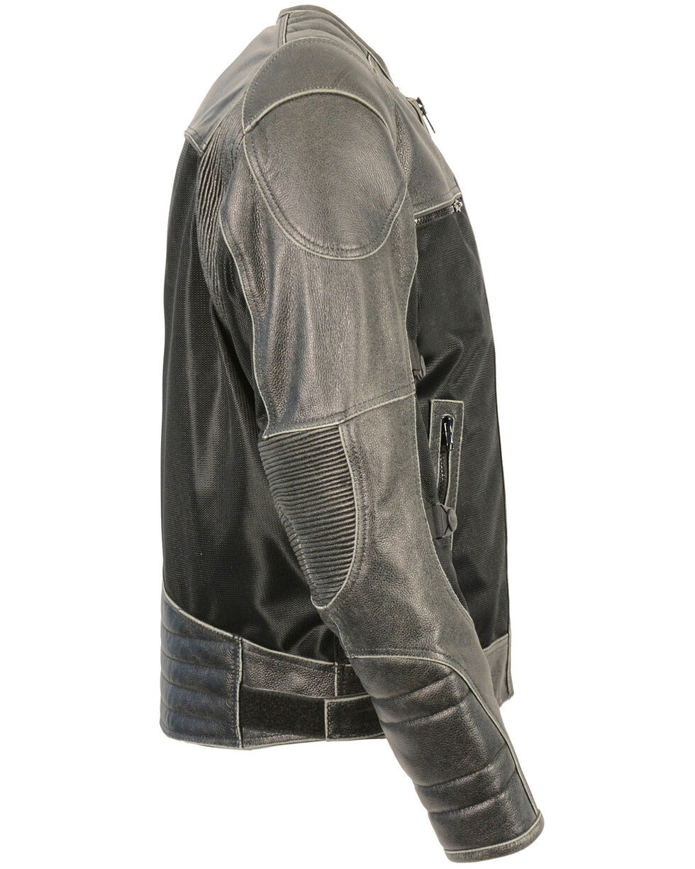 Milwaukee Leather Men's Distressed Grey Leather & Mesh Racer Jacket with Removable Rain Jacket Liner - 3X, Dark Grey, hi-res