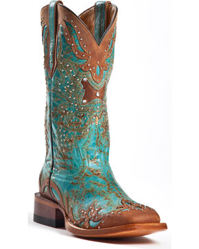 Johnny Ringo Women's Studded Square Toe Western Boots, Aqua, hi-res