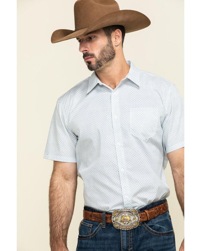 Gibson Men's Radar Small Geo Print Short Sleeve Western Shirt , White, hi-res