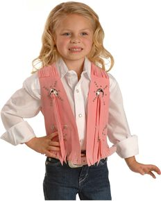 Pink Faux Suede Cowgirl Vest, Pink, hi-res