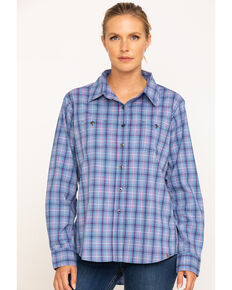 Wrangler Riggs Women's Blue Plaid Long Sleeve Work Shirt  , Blue, hi-res