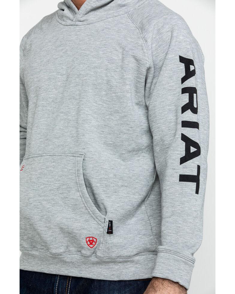Ariat Men's FR Primo Fleece Logo Hooded Work Sweatshirt - Tall , Heather Grey, hi-res