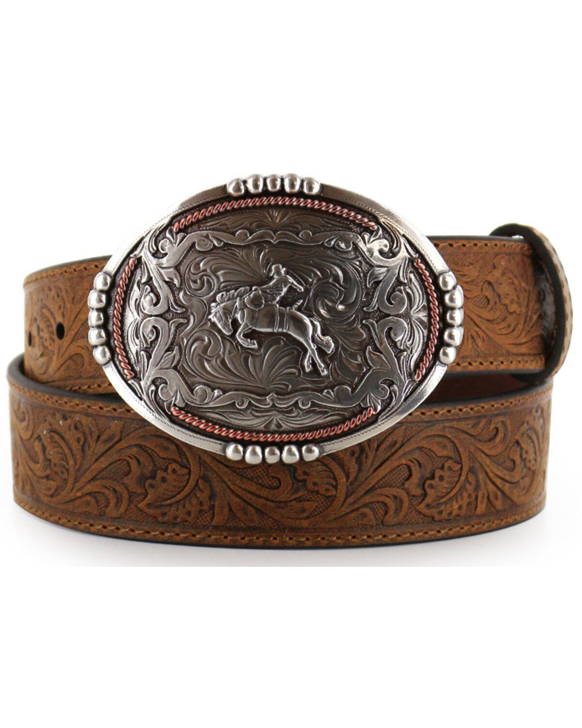 the Austin hand tooled belt,conchos and matching silver Buckle fits 40 to 45 inches