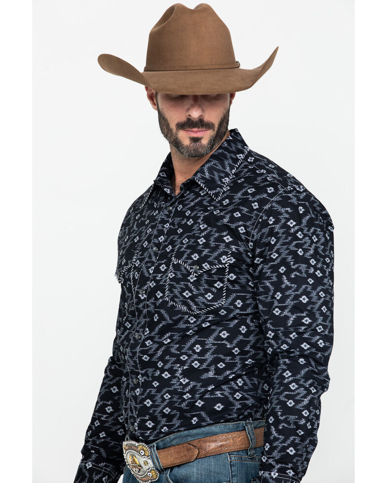 Rock & Roll Cowboy Men's Aztec Poplin Print Long Sleeve Western Shirt , Black, hi-res