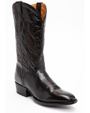 El Dorado Men's Handmade Black Cherry Calfskin Cowboy Boots - Round Toe, Black Cherry, hi-res